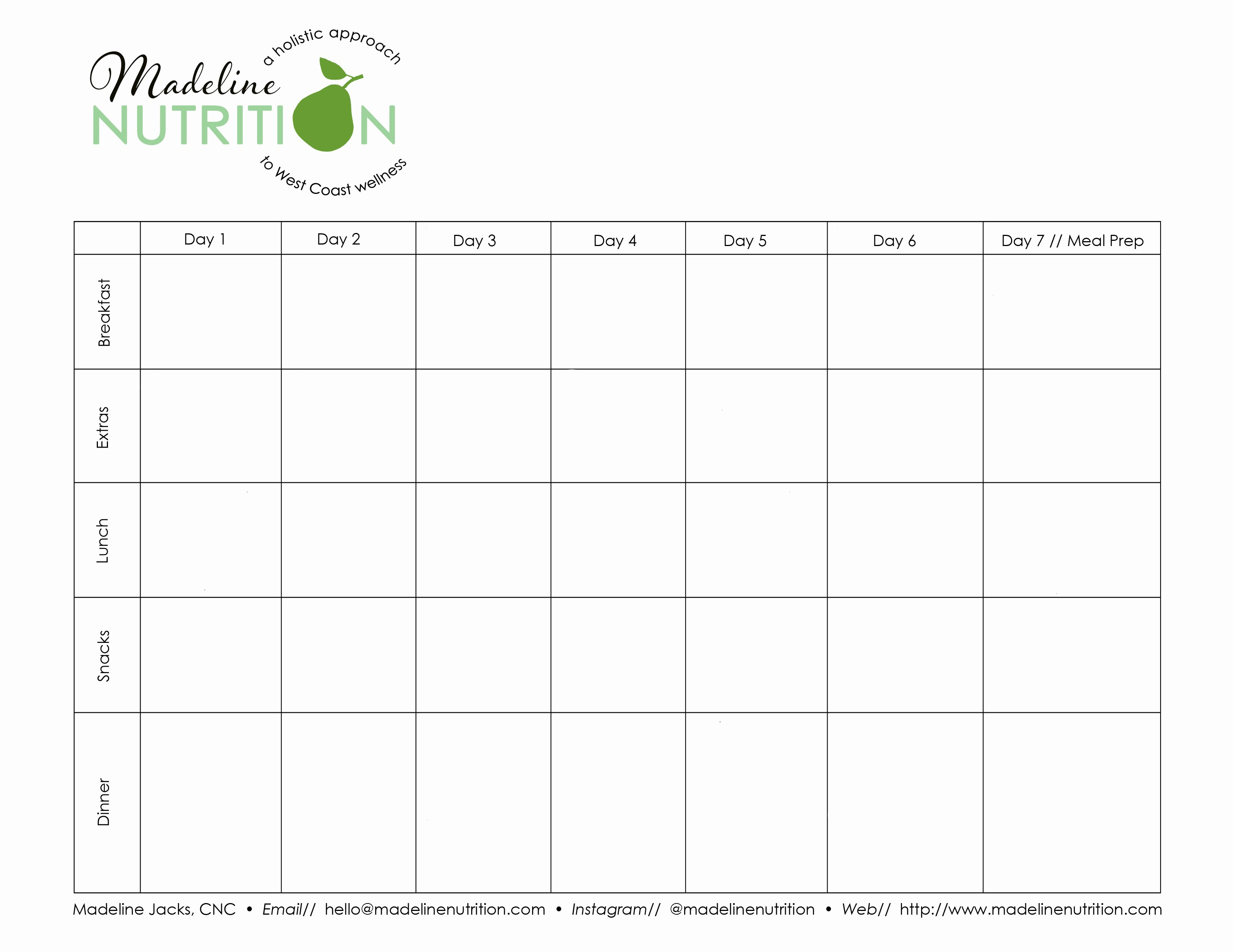 Blank Meal Plan Template Luxury 7 Day Meal Plan Template 30 Planner Wheel Concept Post