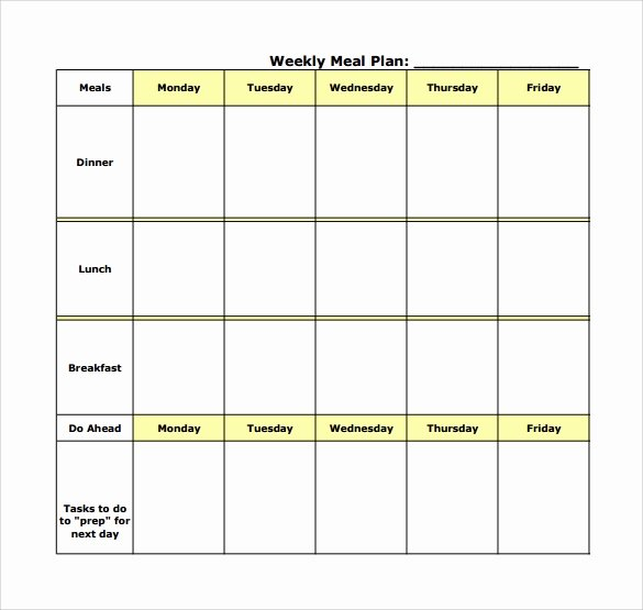 Blank Meal Plan Template Unique 18 Meal Planning Templates Pdf Excel Word
