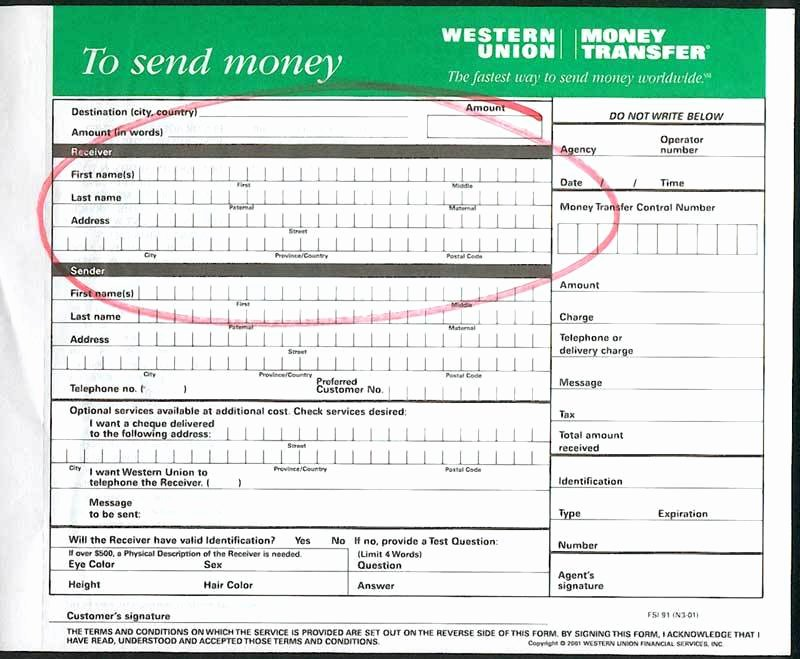 Blank Money order Template Awesome Western Union Send Money form Bank