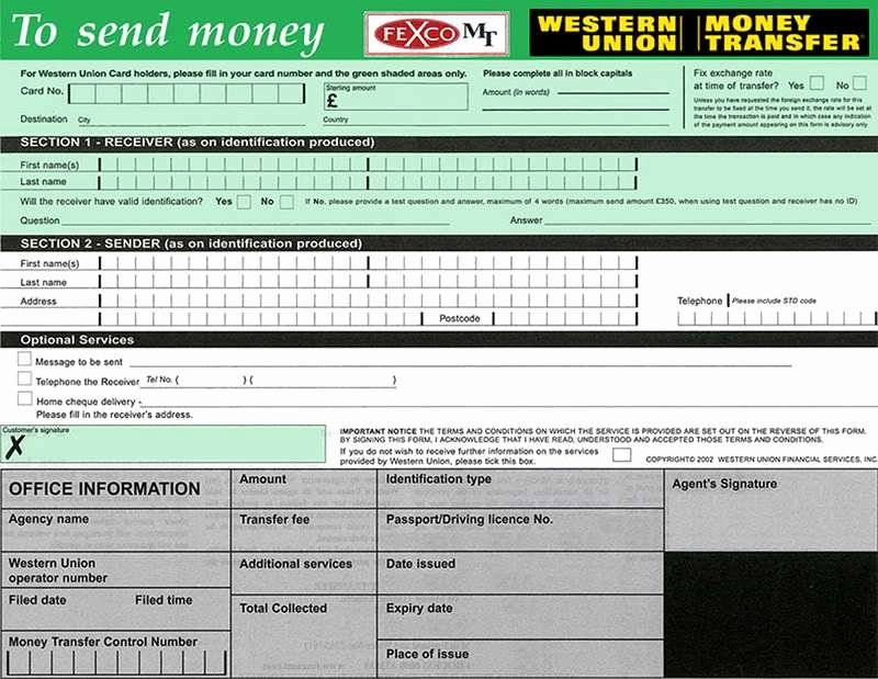 Blank Money order Template Fresh Western Union Send form