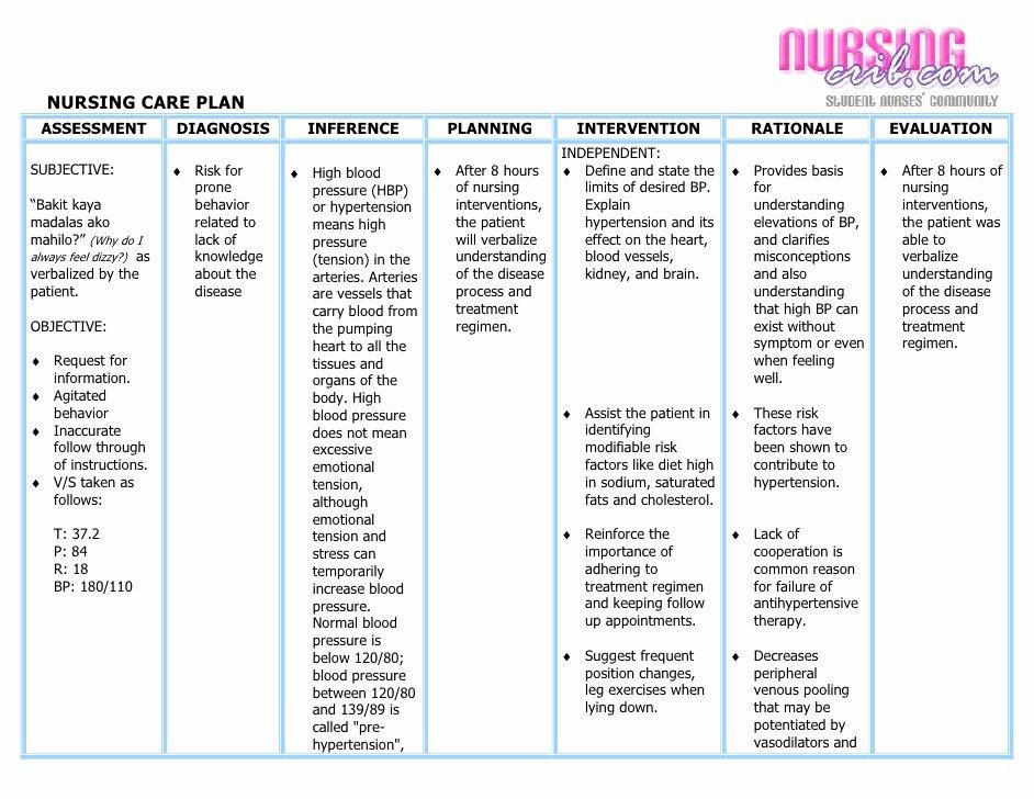 Blank Nursing Care Plan Template Fresh Nursing Care Plan Hypertension