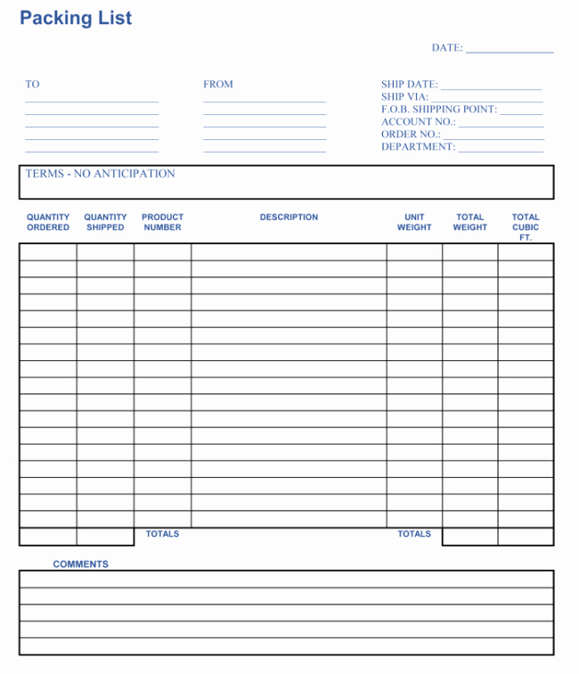 Blank Packing List Template Best Of Packing List Template