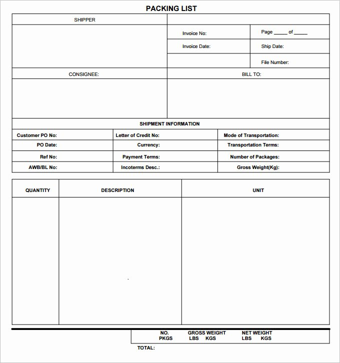 Blank Packing List Template Lovely Vacation Packing List Template 5 Free Excel Pdf