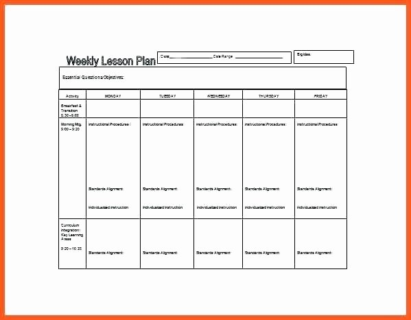 Blank Preschool Lesson Plan Template Beautiful Preschool Lesson Plan Template Word format Blank – Peero Idea