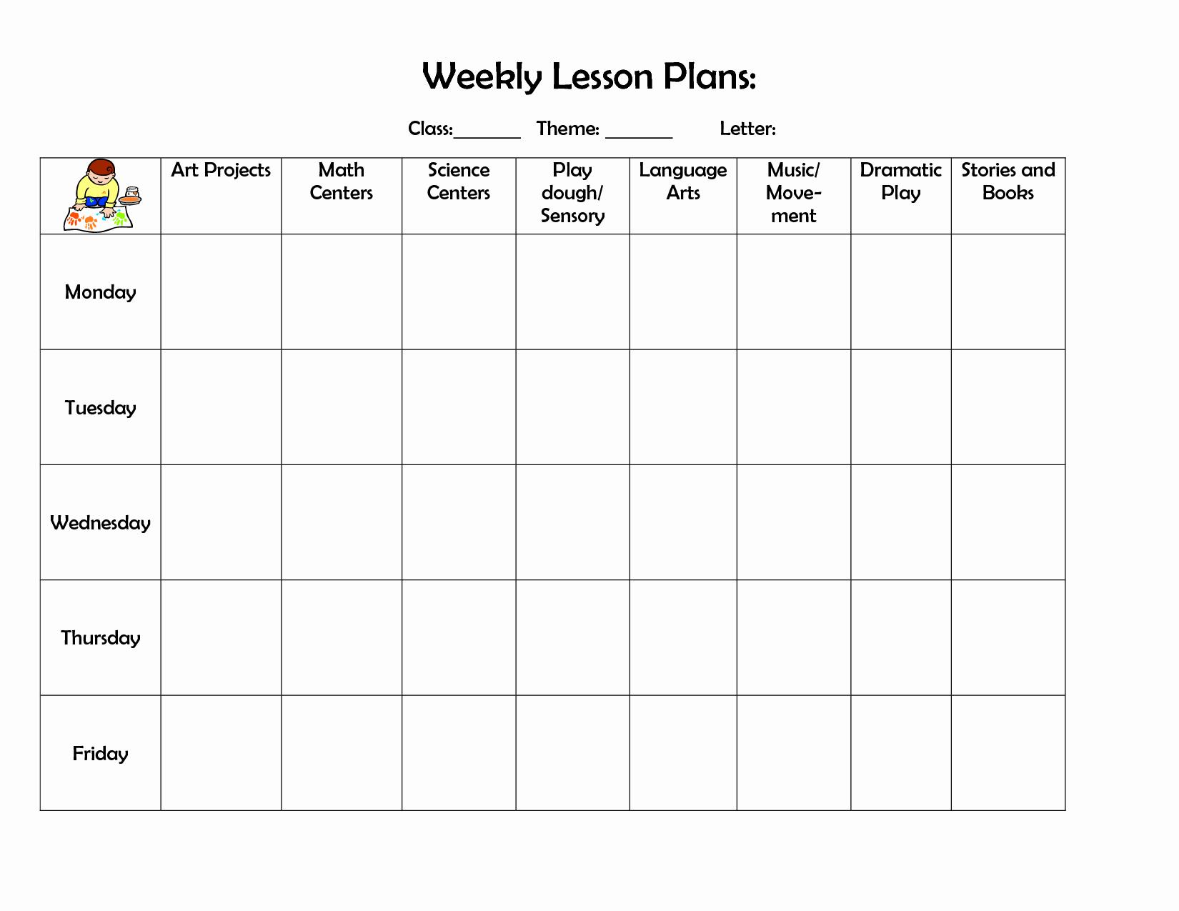 Blank Preschool Lesson Plan Template New Infant Blank Lesson Plan Sheets