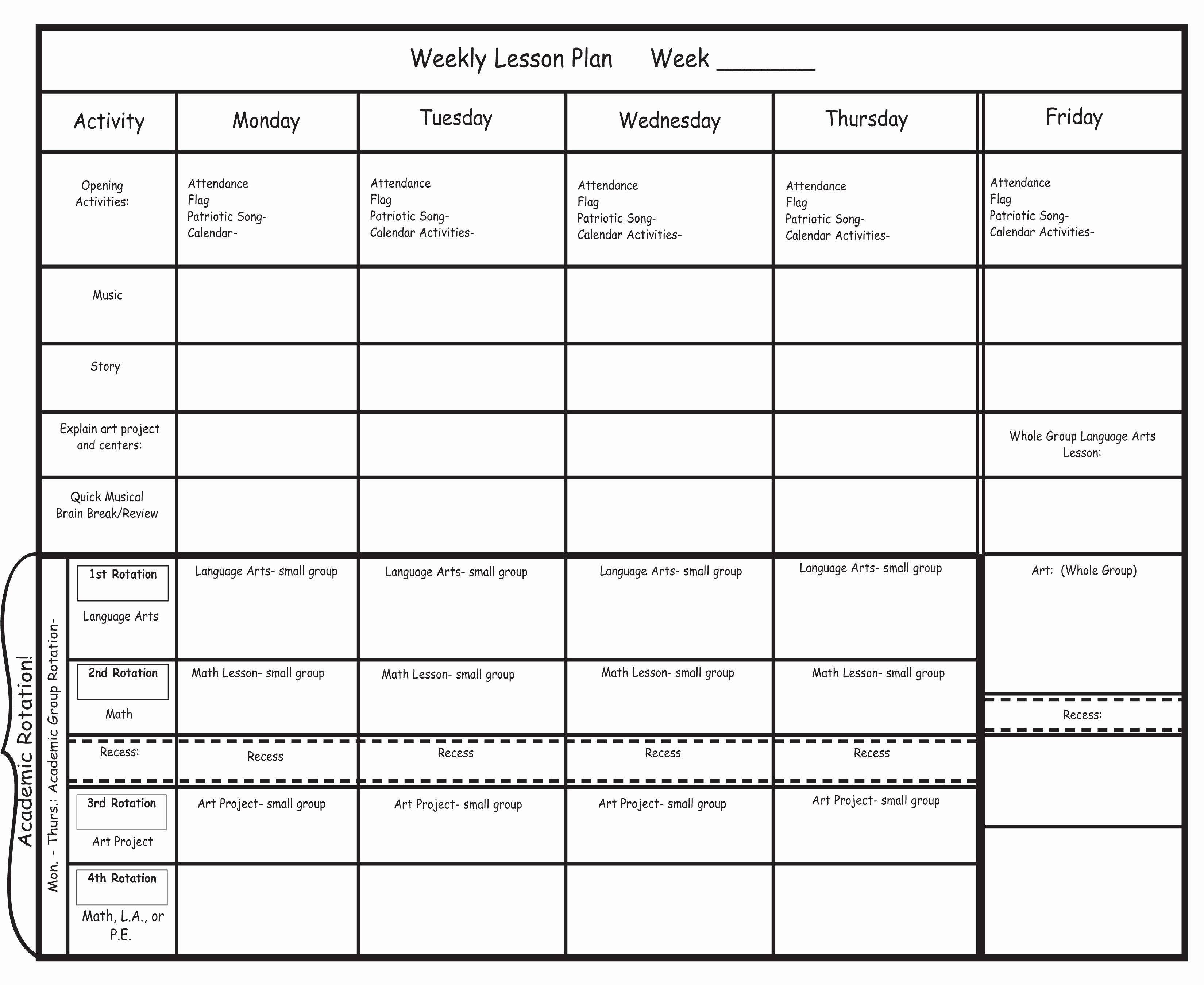 Blank Preschool Lesson Plan Template New Preschool Lesson Plan Template Blank Prelesson Best