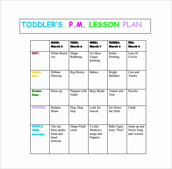 Blank toddler Lesson Plan Template Best Of toddler Lesson Plan Template 9 Free Pdf Word format