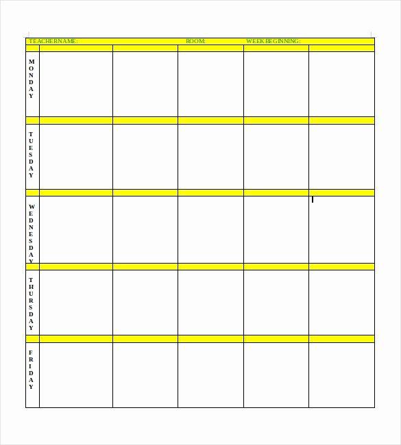 Blank toddler Lesson Plan Template Elegant Blank Lesson Plan Template