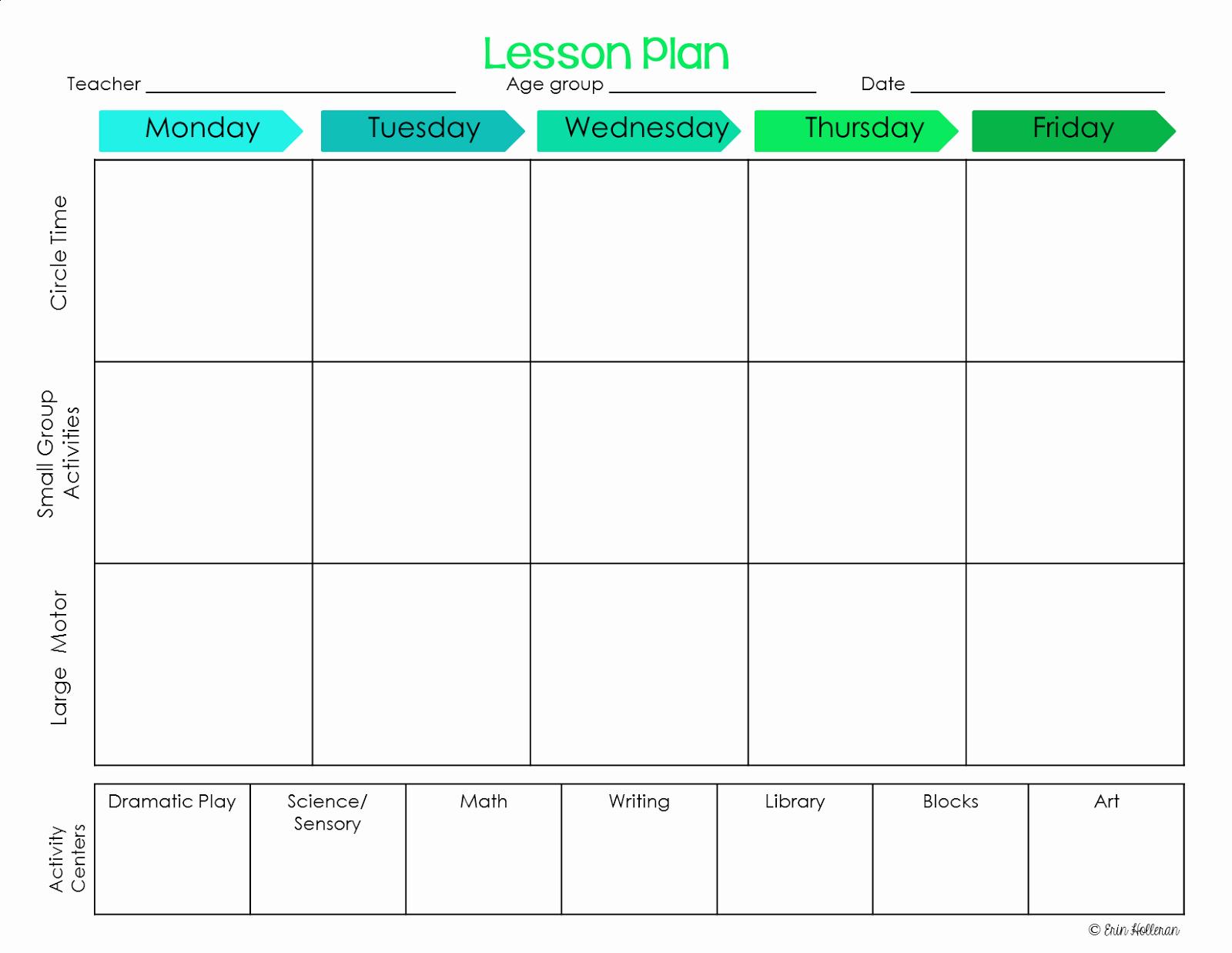 Blank toddler Lesson Plan Template Elegant Elegant Free Printable Preschool Lesson Plan Template