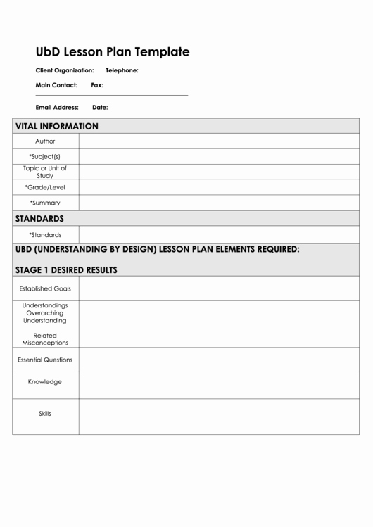 Blank Ubd Lesson Plan Template Inspirational Fillable Ubd Lesson Plan Template Page 2 Of 2 In Pdf