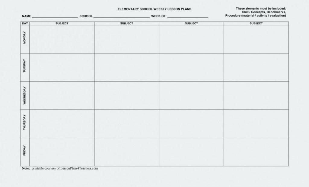 Block Lesson Plan Template Inspirational Weekly Lesson Plan Template Block Schedule
