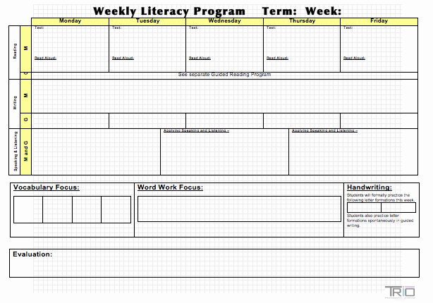 Block Lesson Plan Template New Literacy Block Planning Template