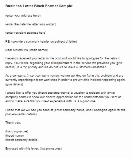 Block Letter format Sample Beautiful Business Letter Block format Example