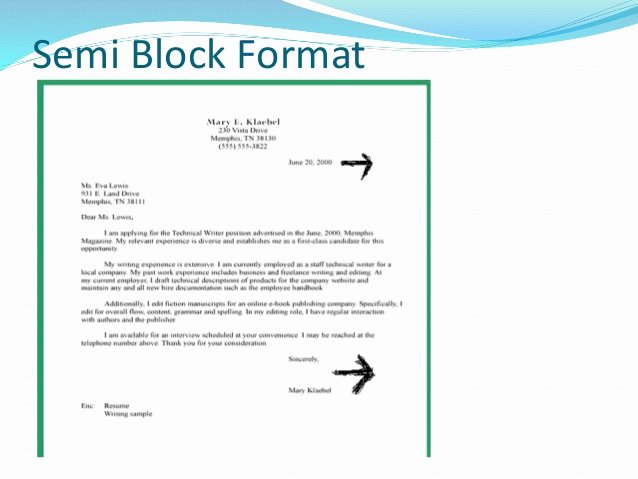 Block Letter format Sample Beautiful Business Letter formats
