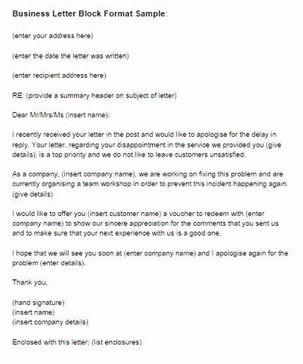 Block Letter format Sample Elegant Block format Business Letter