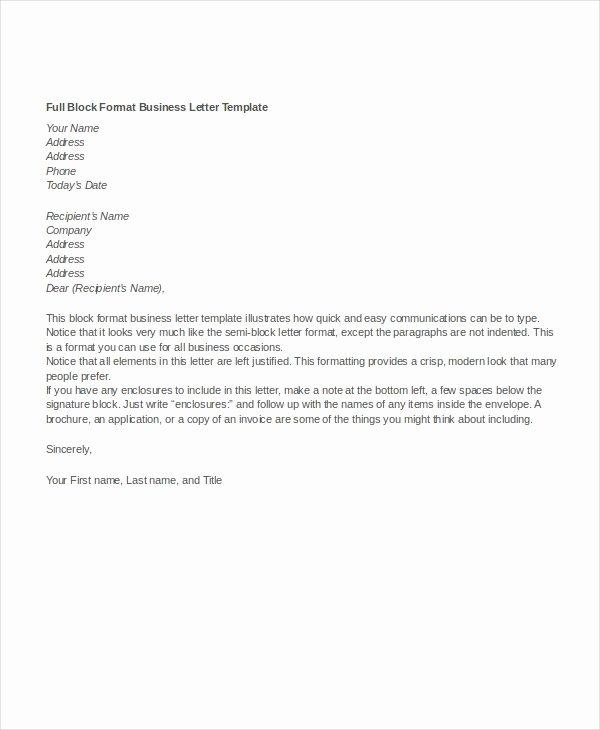 Block Letter format Sample Fresh Business Letter format 10 Free Word Pdf Documents