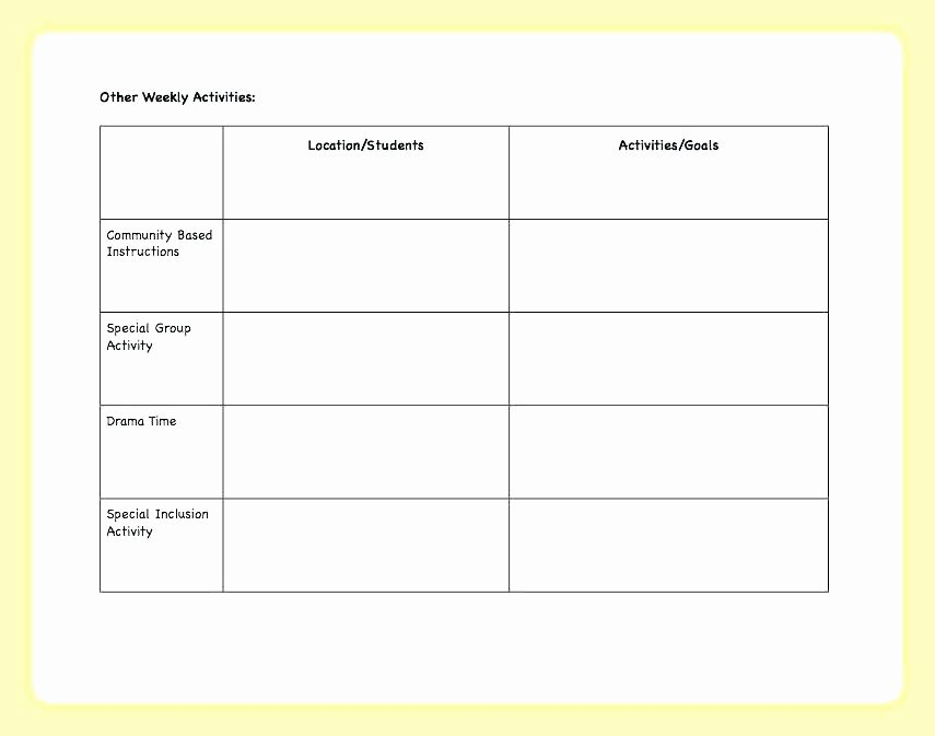 Block Scheduling Lesson Plan Template Awesome Child Observation Chart Child Observation Chart 1 Autism
