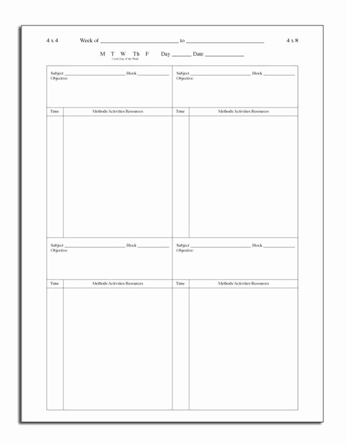 Block Scheduling Lesson Plan Template Elegant Daily Block Lesson Plan Book Block Scheduling