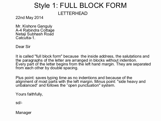 Blocked Style Letter format Elegant Layout Of Business Letters