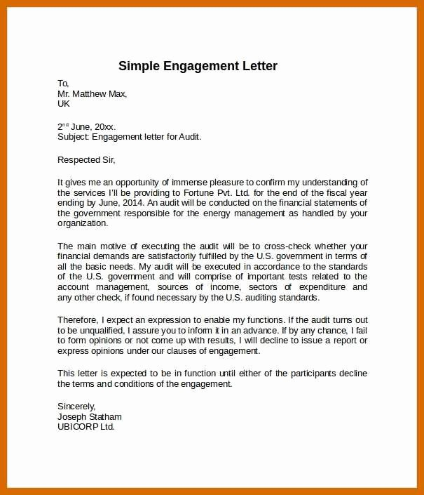 Bookkeeper Contract Engagement Letters Awesome 11 12 Sample Engagement Letter
