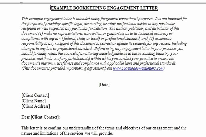 35 Bookkeeper Contract Engagement Letters | Hamiltonplastering