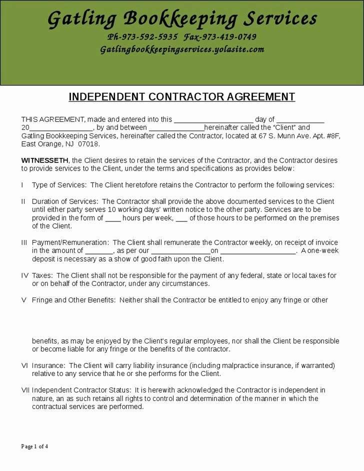 Bookkeeper Contract Engagement Letters Luxury Engagement Letter