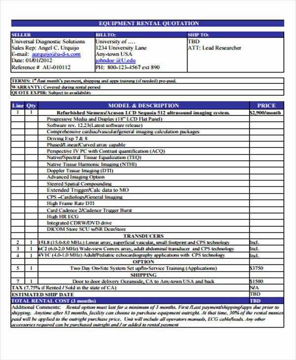 Bounce House Rental Agreement Template Elegant Equipment Rental Quote Template House Rental Quotation
