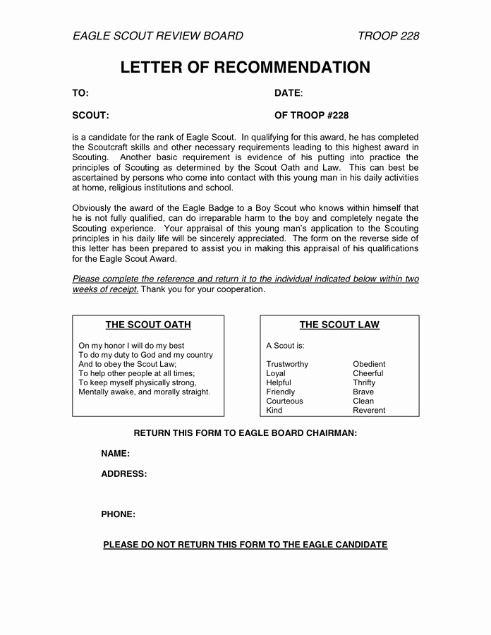 Boy Scout Letter Of Recommendation Fresh Letter Of Re Mendation In Word and Pdf formats