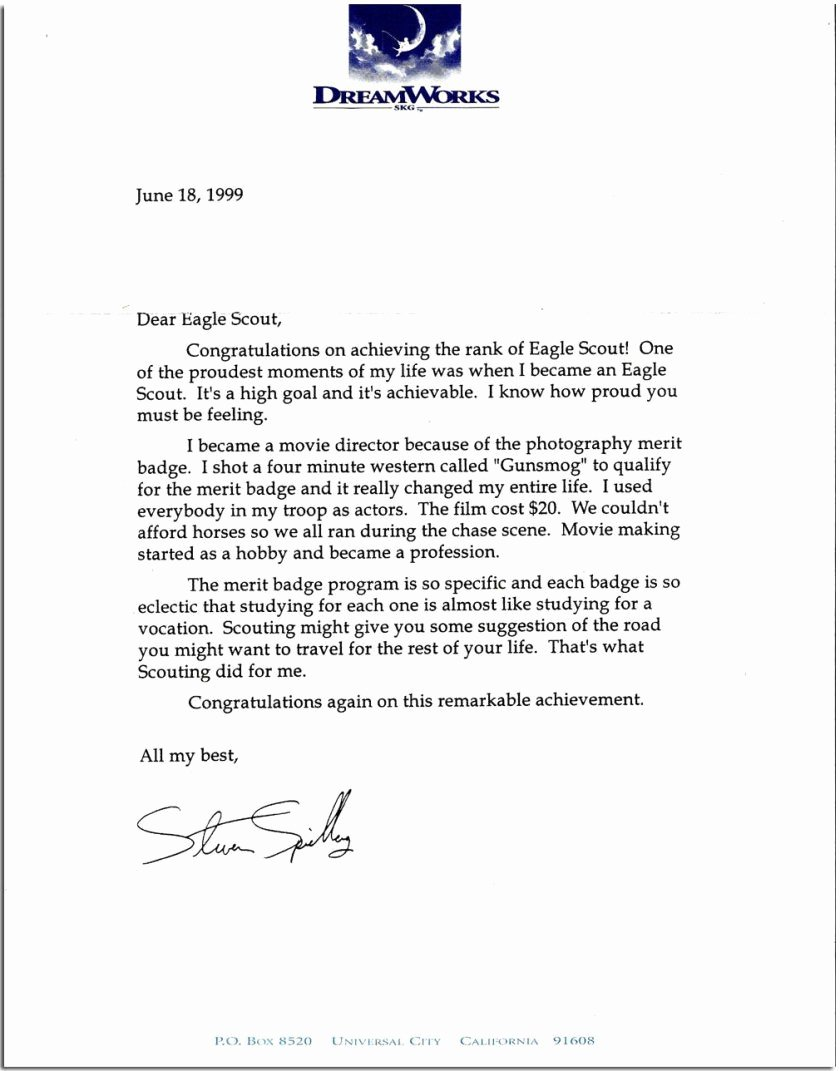 Boy Scout Letter Of Recommendation Lovely Eagle Scout Letters How to them
