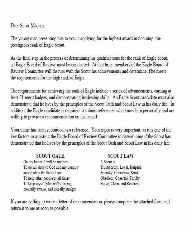 Boy Scout Letter Of Recommendation Luxury 9 Sample Eagle Scout Re Mendation Letter Templates