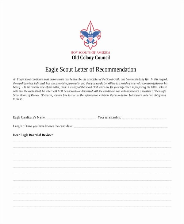 Boy Scout Letter Of Recommendation New 9 Sample Eagle Scout Re Mendation Letter Templates