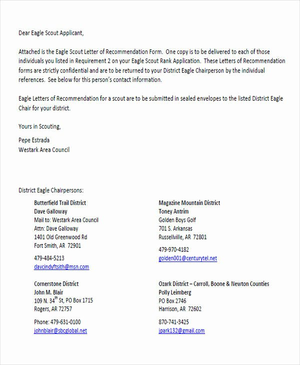 Boy Scouts Letter Of Recommendation Elegant 9 Sample Eagle Scout Re Mendation Letter Templates