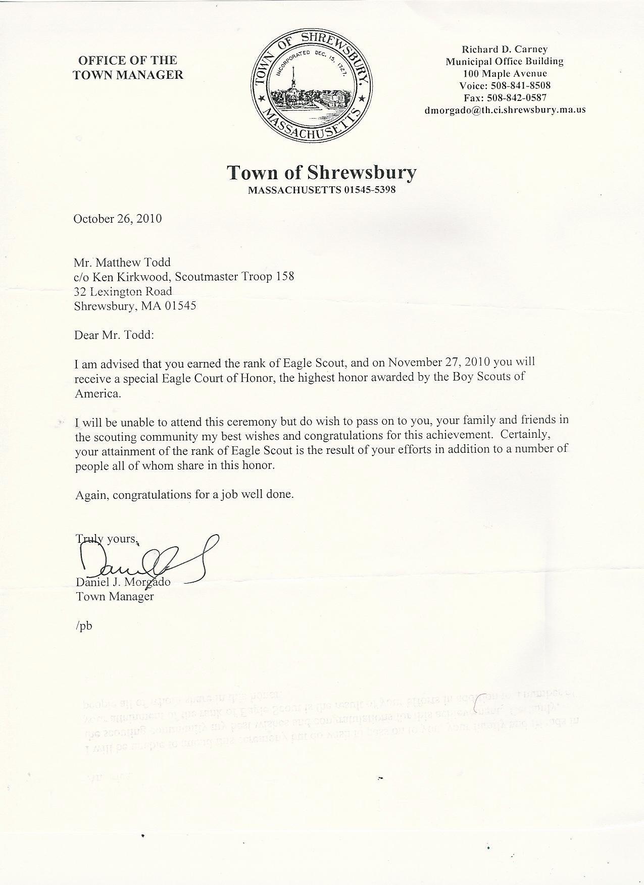 Boy Scouts Letter Of Recommendation Fresh Eagle Scout Letters Re Mendation