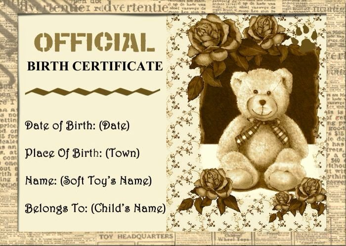 Build A Bear Birth Certificate Template Awesome 10 Best Images About Teddy Adoption On Pinterest