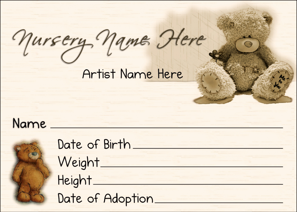 Build A Bear Birth Certificate Template Awesome 6 Best Of Teddy Bear Birth Certificate Teddy Bear
