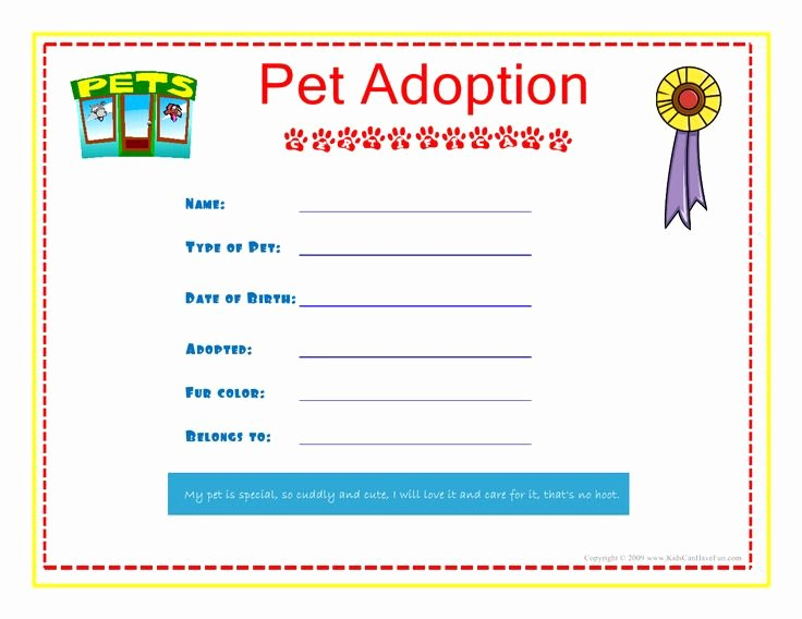 Build A Bear Birth Certificate Template Beautiful Pet Adoption Certificate for the Kids to Fill Out About