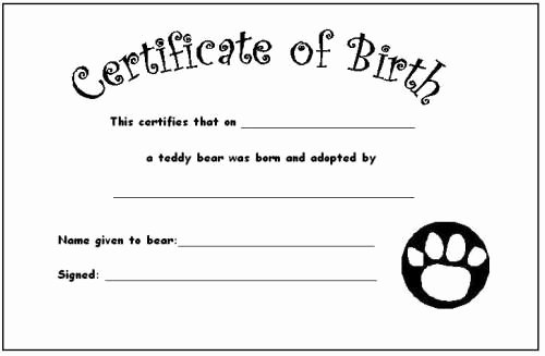 Build A Bear Birth Certificate Template Beautiful Your Teddy's Certificate Of Birth