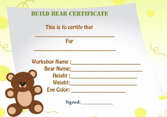 Build A Bear Birth Certificate Template Inspirational Build A Bear Certificate Template Estudiocheirodeflor