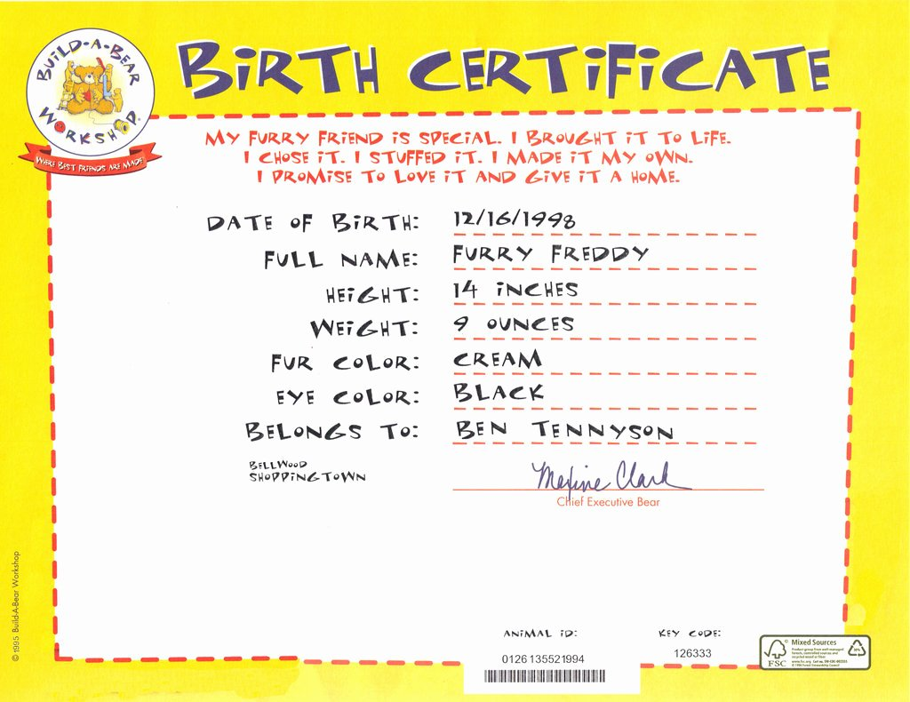 Build A Bear Birth Certificate Template Inspirational Freddy S Birth Certificate by Metalmindsam On Deviantart