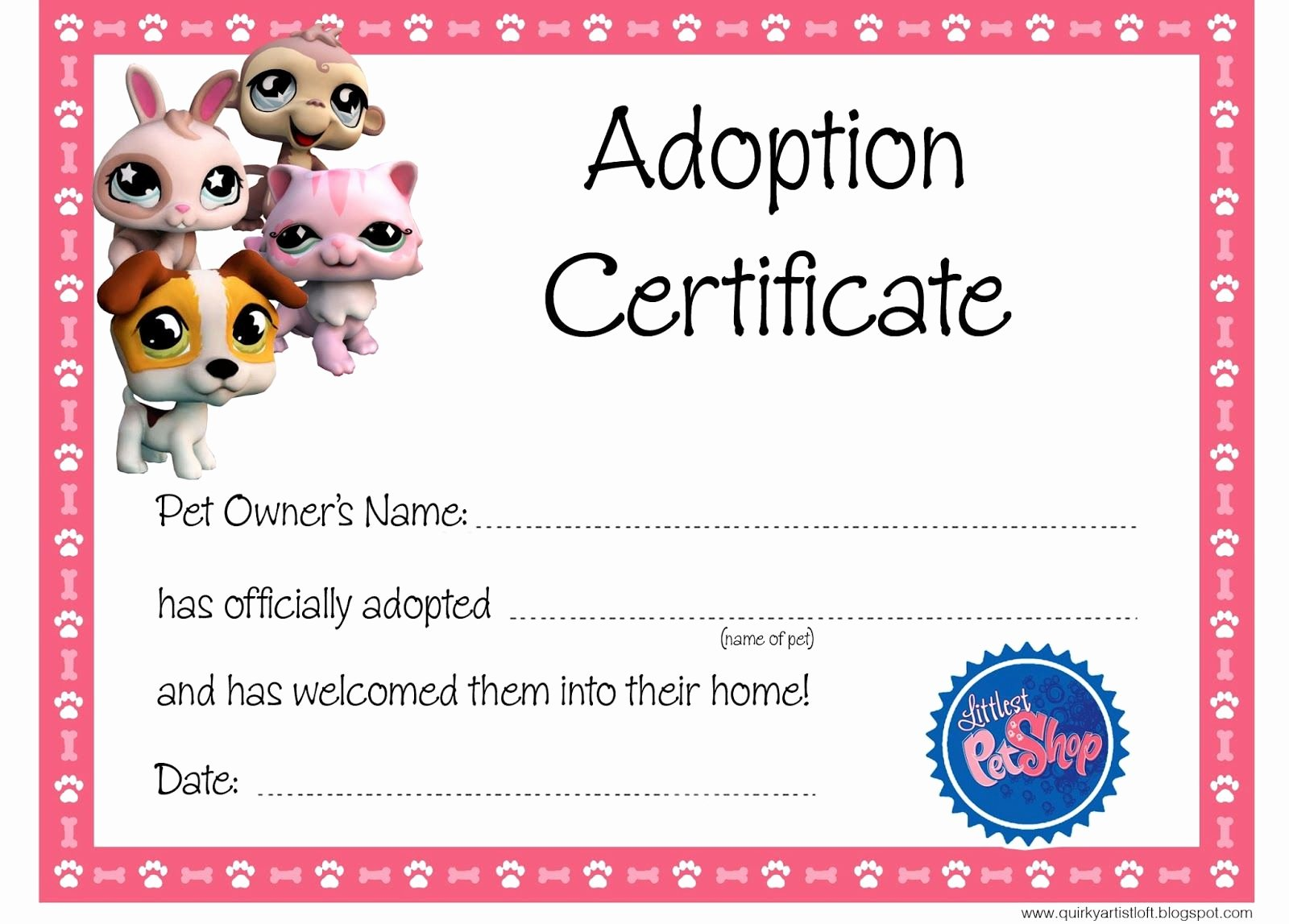 Build A Bear Birth Certificate Template Inspirational Quirky Artist Loft Littlest Pet Shop Party Free