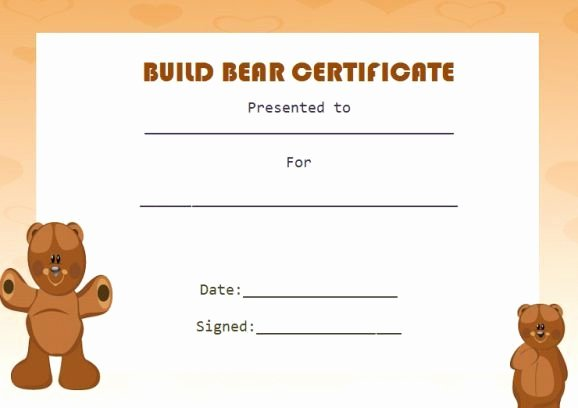Build A Bear Birth Certificate Template New Build Bear Template