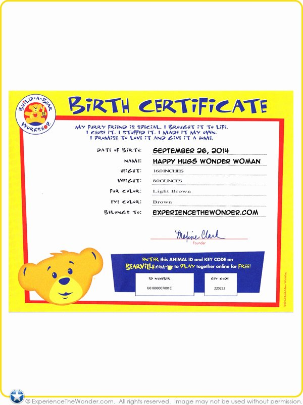 Build A Bear Birth Certificate Template Unique Build A Bear Workshop Dc Ics Happy Hugs Teddy In Wonder