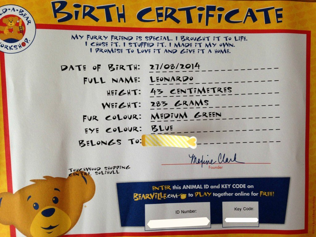 Build A Bear Birth Certificate Template Unique Our First Build A Bear Experience