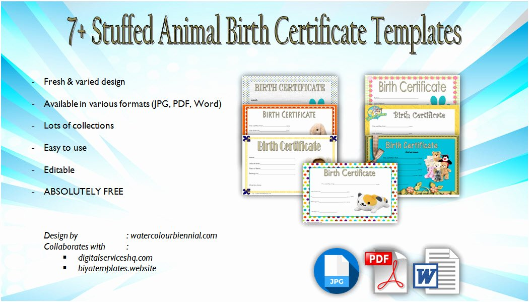 Build A Bear Birth Certificate Template Unique Stuffed Animal Birth Certificate Templates [7 Latest Designs]