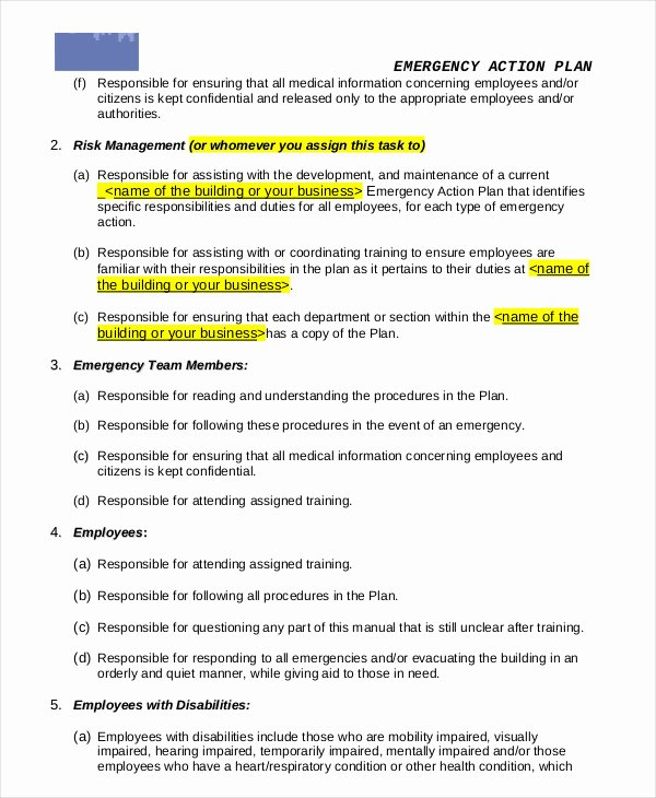 Business Action Plan Template New Emergency Action Plan Template 9 Free Sample Example