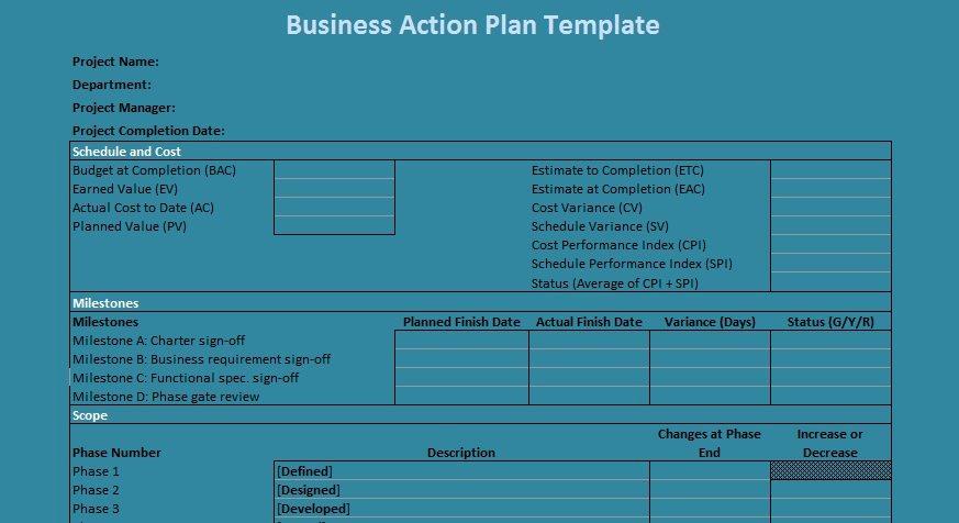 Business Action Plan Template Unique Business Action Plan Template Excel
