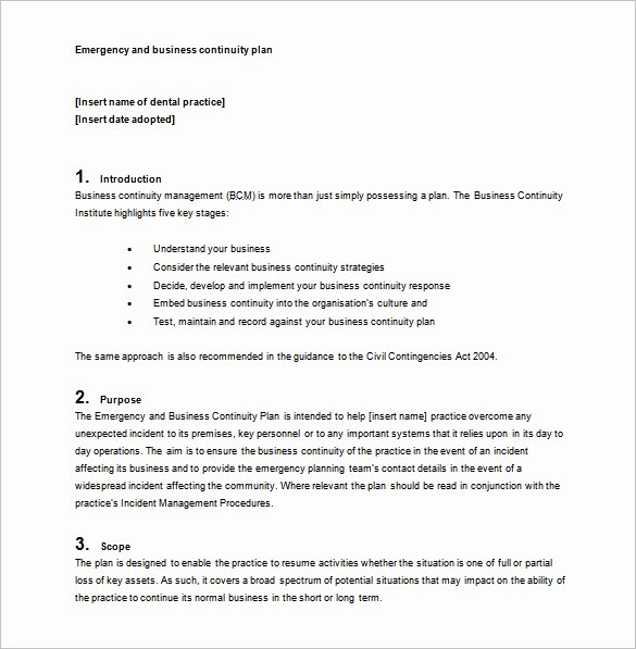 Business Contingency Plan Template Best Of Business Continuity Plan Template 11 Download Free Word