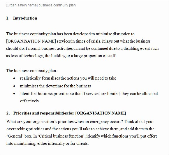 Business Contingency Plan Template Inspirational 14 Business Continuity Plan Templates – Free Samples