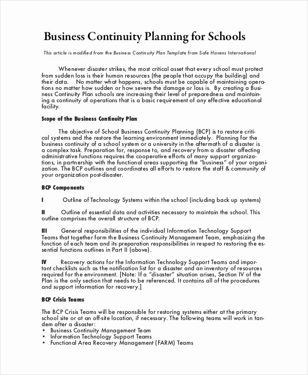 Business Contingency Plan Template Unique Business Continuity Plan 9 Free Pdf Word Download
