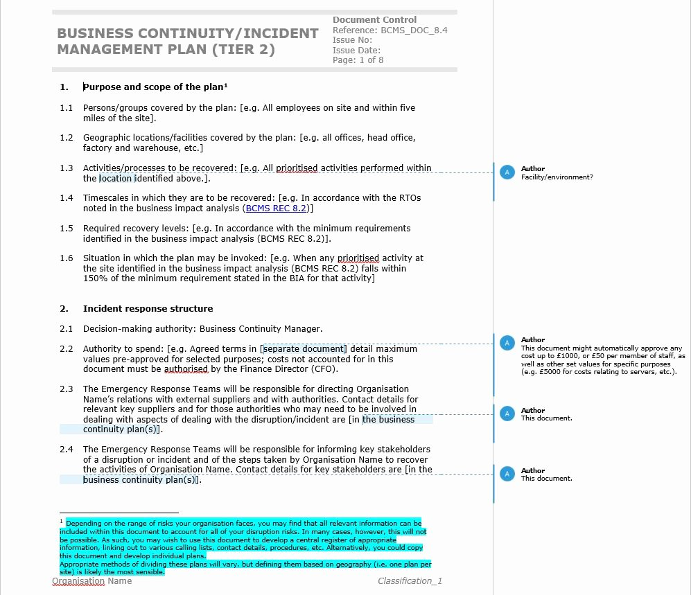 Business Continuity Plan Template Elegant Business Continuity Plan iso Business Plan Sampl